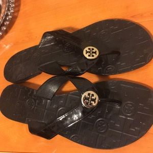 Tory Burch jelly black flip flops